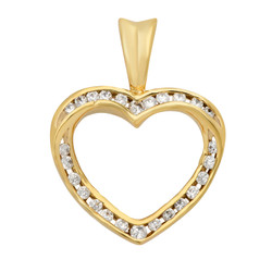 Gold Plated Open Heart Shaped Pendant w/Channel Set Round CZs + Microfiber