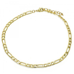 3.5mm Polished 0.25 mils (6 microns) 14k Yellow Gold Plated Flat Figaro Chain Anklet, 11 inches