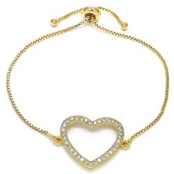 21.6mm Polished 14k Yellow Gold Plated Clear Cubic Zirconia Bolo Bracelet, 10 inches