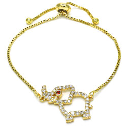 21mm Polished 0.25 mils (6 microns) 14k Yellow Gold Plated Red Cubic Zirconia Bolo Bracelet, 10 inches