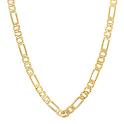 4mm High-Polished 0.25 mils (6 microns) 14k Yellow Gold Plated Flat Figaro Chain Necklace