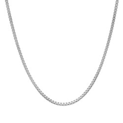 1.5mm High-Polished Stainless Steel Square Box Chain Necklace, 16'-30 + Jewelry Cloth & Pouch