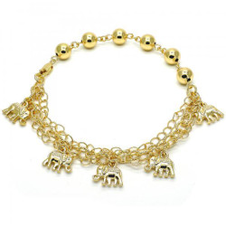 8.1mm Polished 0.25 mils (6 microns) 14k Yellow Gold Plated Chain Anklet, 9.5 inches + Jewelry Cloth & Pouch