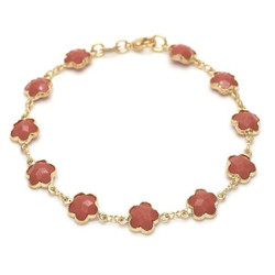Polished 0.25 mils 14k Yellow Gold Plated Red Opal Flower Stone Charm Anklet, 10 inches + Jewelry Cloth & Pouch