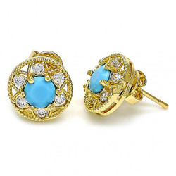 11.5mm 0.25 mils (6 microns) 14k Yellow Gold Plated Blue Opal Stud Earrings, 11.5mm + Jewelry Cloth & Pouch