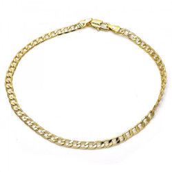 3.7mm Polished 0.25 mils (6 microns) 14k Yellow Gold Plated Flat Curb Chain Anklet, 10 inches