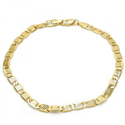 5.3mm Polished 0.25 mils (6 microns) 14k Yellow Gold Plated Flat Mariner Chain Anklet, 10 inches