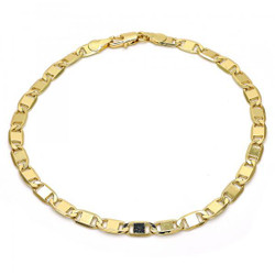 5.2mm Polished 0.25 mils (6 microns) 14k Yellow Gold Plated Flat Mariner Chain Anklet, 10 inches