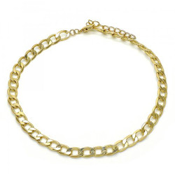 5.4mm Polished 0.25 mils (6 microns) 14k Yellow Gold Plated Flat Chain Anklet, 11 inches + Jewelry Cloth & Pouch