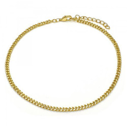 2.9mm Polished 14k Yellow Gold Plated Flat Curb Chain Anklet, 11 inches