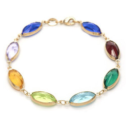 7.8mm Polished 0.25 mils 14k Yellow Gold Plated Multicolor CZ CZ Anklet, 10 inches + Jewelry Cloth & Pouch