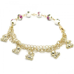 8.5mm Polished 0.25 mils (6 microns) 14k Yellow Gold Plated Bead Chain Anklet, 9.5 inches + Jewelry Cloth & Pouch