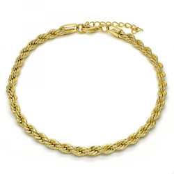4.8mm Polished 0.25 mils (6 microns) 14k Yellow Gold Plated Twisted Rope Chain Anklet, 11 inches