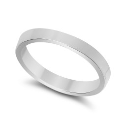 925 Sterling Silver Nickel-Free 3mm Flat Edged Wedding Band - Made in Italy