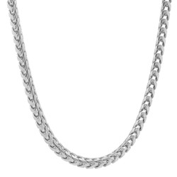 4.3mm Rhodium Plated .925 Sterling Silver Round Franco Chain Necklace, 20'-30 + Jewelry Cloth & Pouch