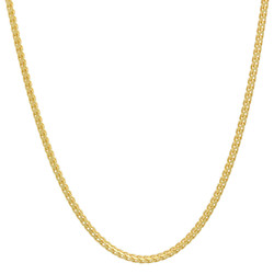 1.4mm Polished 14k Yellow Gold Plated Silver Round Link Chain Necklace