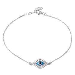 9.4mm Rhodium Plated .925 Sterling Silver Clear CZ Cable Evil Eye Charm Bracelet, 7 inches + Jewelry Cloth & Pouch