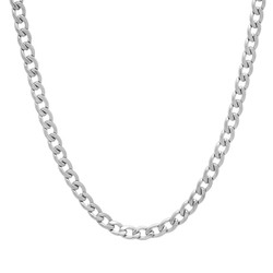 4mm High-Polished Stainless Steel Flat Cuban Link Curb Chain Necklace + Gift Box