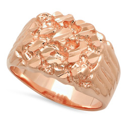 Men's 19mm Rose Gold Plated Flat Nugget Pinky Ring + Gift Box