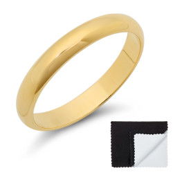 3mm 0.25 mils 14k Yellow Gold Plated Domed Wedding Band Ring, 5,6,7,8,9,10,11,12 (US) + Jewelry Cloth/Box/Bag