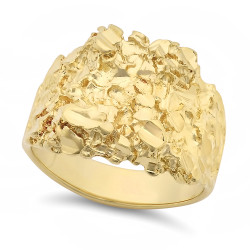 Men's 21mm Textured 14k Yellow Gold Plated Flat Nugget Ring + Gift Box