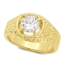 Men's 13mm 14k Yellow Gold Plated Clear Cubic Zirconia Solitaire Ring + Gift Box