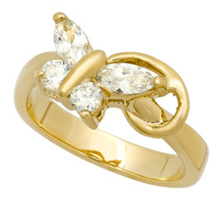 Women's 8mm 0.25 mils 14k Yellow Gold Plated White CZ Butterfly Ring, Size 4,5,6,7,8,9,10 (US) + Jewelry Cloth/Box/Bag