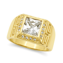 Men's 14mm 14k Yellow Gold Plated Clear Cubic Zirconia Square Pinky Ring + Gift Box