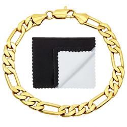 7.8mm 14k Yellow Gold Plated Flat Figaro Chain Bracelet + Gift Box