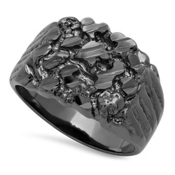 Men's 19mm Black Plated Flat Nugget Pinky Ring + Gift Box