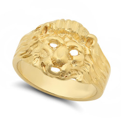 Men's 19mm 14k Yellow Gold Plated Flat Lion Head Ring + Gift Box