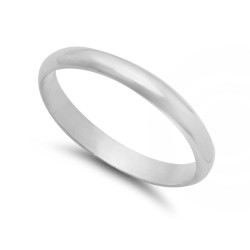 Women's 3mm Solid .925 Sterling Silver Domed Wedding Band Ring + Gift Box