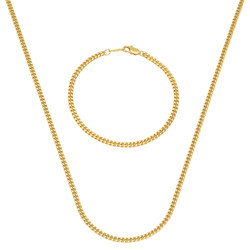 3mm 14k Yellow Gold Plated Flat Cuban Link Curb Chain Necklace + Bracelet Set + Gift Box