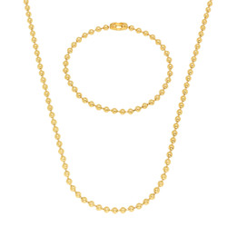 3.3mm 14k Yellow Gold Plated Ball Military Ball Chain Necklace + Bracelet Set + Gift Box