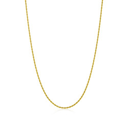 2.2mm 0.16 mils (4 microns) 24k Yellow Gold Plated Stainless Steel Round Rope Chain, 18'-30 + Jewelry Cloth/Box/Bag
