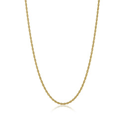 3mm 24k Yellow Gold Plated Stainless Steel Twisted Rope Chain Necklace + Gift Box