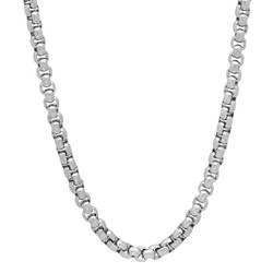 4mm High-Polished Stainless Steel Square Box Chain Necklace, 20'-30 + Jewelry Box, Cloth, & Bag