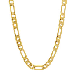 5.5mm Polished 14k Yellow Gold Plated Flat Figaro Chain Necklace + Gift Box