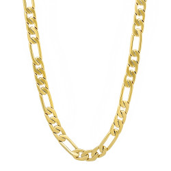 5.3mm 14k Yellow Gold Plated Flat Figaro Chain Necklace + Gift Box