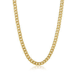 8.9mm 24k Yellow Gold Plated Stainless Steel Flat Cuban Link Curb Chain Necklace + Gift Box