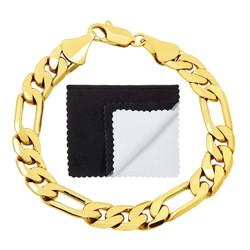 Men's 9.5mm 14k Yellow Gold Plated Flat Figaro Chain Bracelet + Gift Box