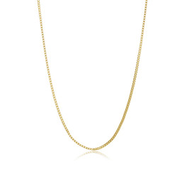 2.5mm 24k Yellow Gold Plated Stainless Steel Square Box Chain Necklace + Gift Box