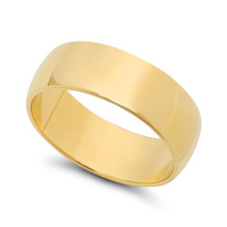 7mm 0.25 mils 14k Yellow Gold Plated Domed Wedding Band Ring, 6,7,10,11,12,13 (US) + Jewelry Cloth/Box/Bag