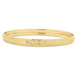 Women's 6.5mm 14k Yellow Gold Plated Round Etched Stars & Moons Stackable Bangle Bracelet + Gift Box