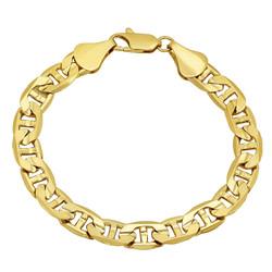 8.8mm Diamond-Cut 14k Yellow Gold Plated Flat Mariner Chain Link Bracelet + Gift Box