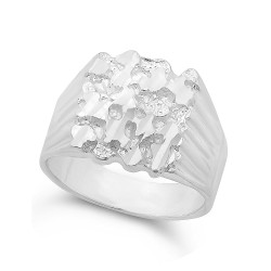 22mm Silver Square Nugget Ring + Gift Box