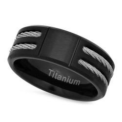 Men's 8mm Black Plated Titanium Band Ring + Gift Box