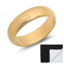 5.5mm 0.25 mils (6 microns) 14k Yellow Gold Plated Domed Wedding Band Ring, Size 5,6,7,8,9,10,11,12,13 (US)