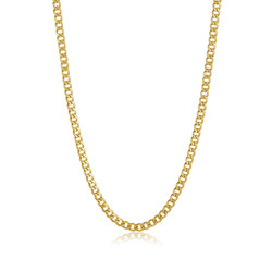 6.2mm 24k Yellow Gold Plated Stainless Steel Flat Cuban Link Curb Chain Necklace + Gift Box