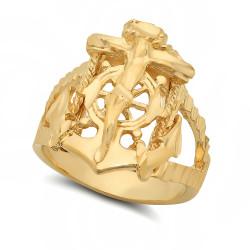 Men's 18mm 14k Yellow Gold Plated Flat Cross Ring + Gift Box